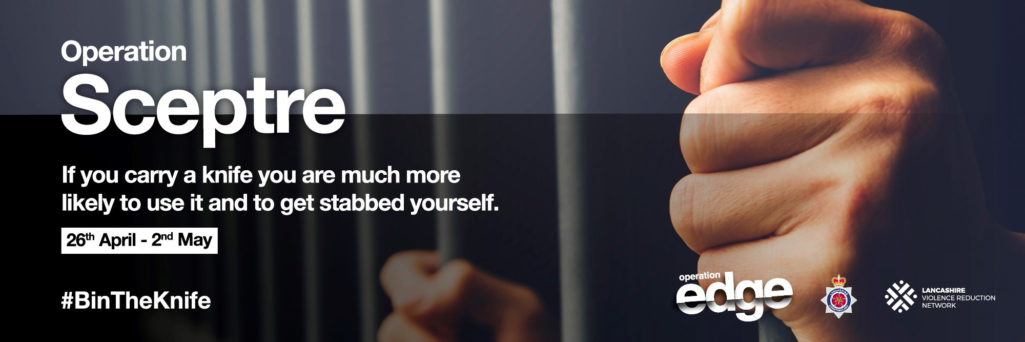 Operation Sceptre. If you carry a knife you are much more likely to use it and get stabbed yourself. 26th April - 2nd May 2021. #BinTheKnife
